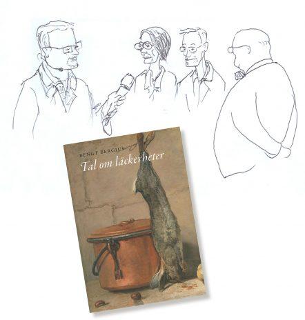 Måltidsakademiens Karsten Thurfjell med bokens formgivare Lars Paulsrud, redaktör Jakob Christensson och akademiens förre chefsbibliotekarie Lars Ljunggren. Ill: Per Thunström.